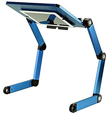 【 スマホ タブレットが 仰向けで使える 】端末が落ちない 仰向け固定フック 搭載 ラップトップ テーブル 「怠けてデスク」 スマートフォン タブレット ノートパソコン 自由 角度 調整 (ブルー)